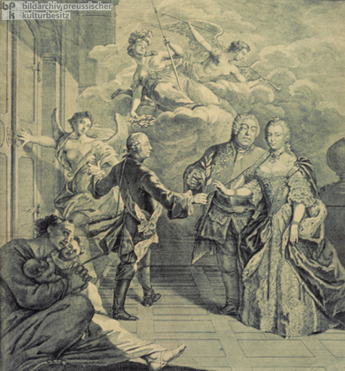 Allegorical Depiction of the Peace of Hubertusburg between Prussia, Austria, and Saxony (Poland) (1763)
