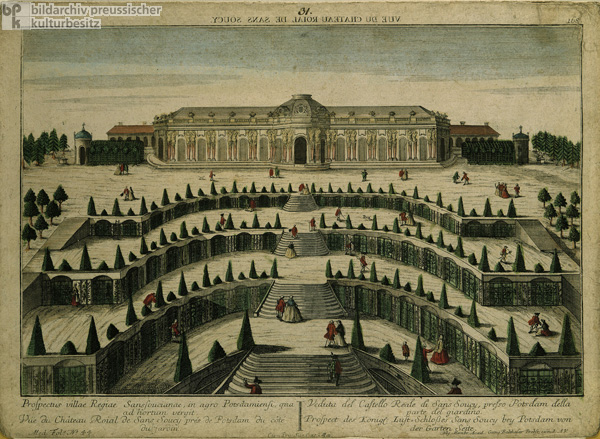 View from the Gardens of Sanssouci Palace at Potsdam (c. 1750)