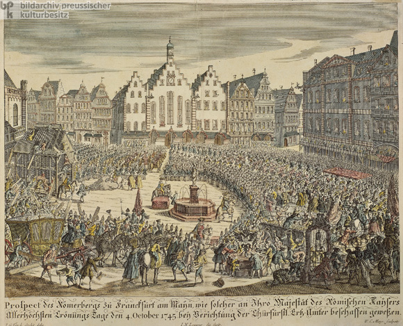 View of the Römerberg in Frankfurt am Main on October 4, 1745, the Day of the Coronation of Francis I (c. 1750)