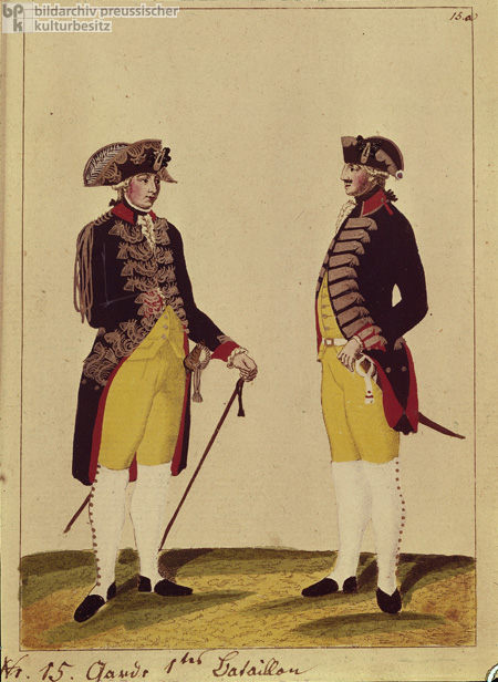 Prussian Uniforms c. 1785: Officer and Infantryman from the 1st Guard Battalion, Number 15 (Late 18th Century)