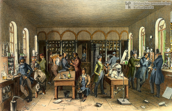 Justus von Liebig in His Laboratory at the Chemical Institute of the University of Giessen (c. 1840)
