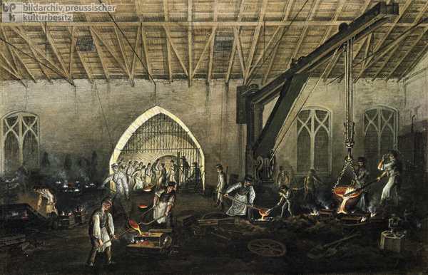 Casting at the <I>Aloishütte</i> Smelting Works (1856)