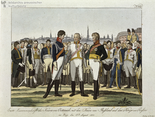 Frederick William III of Prussia, Francis I of Austria, and Russian Czar Alexander I Meet for the First Time in Prague on March 18, 1813 (19th Century)
