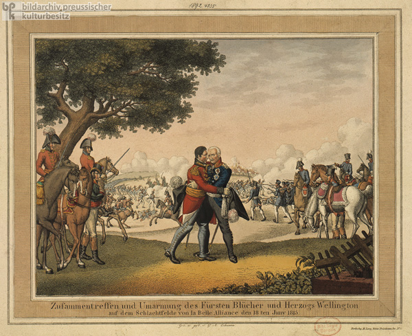 Prince Blücher and the Duke of Wellington Meet at the Battle of Waterloo (La Belle Alliance) on June 18, 1815 (19th Century)