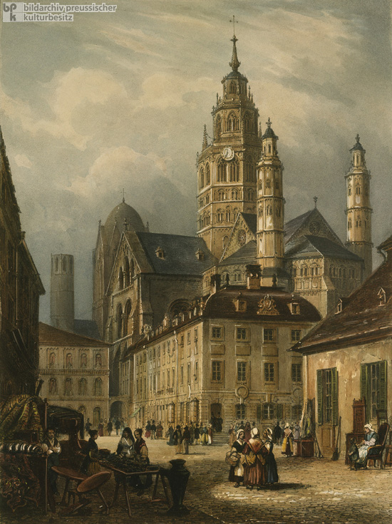 Mainz – Market in Front of the Cathedral (1840)