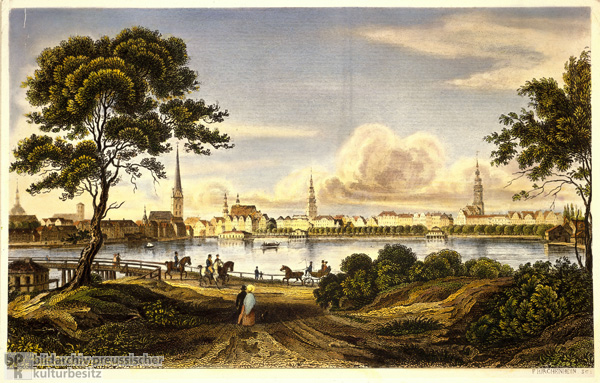 Hamburg – View of the City as Seen from the Alster (c. 1850)