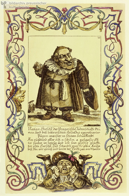 Nathan Hirschl, Head of the Jewish Community in Prague, Stereotypical Anti-Semitic Depiction (c. 1714)