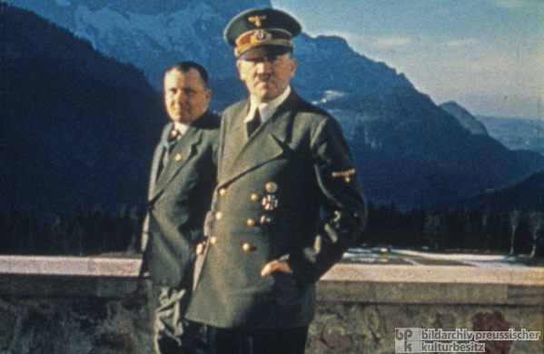 Martin Bormann and Adolf Hitler on the Berghof Terrace (1942)