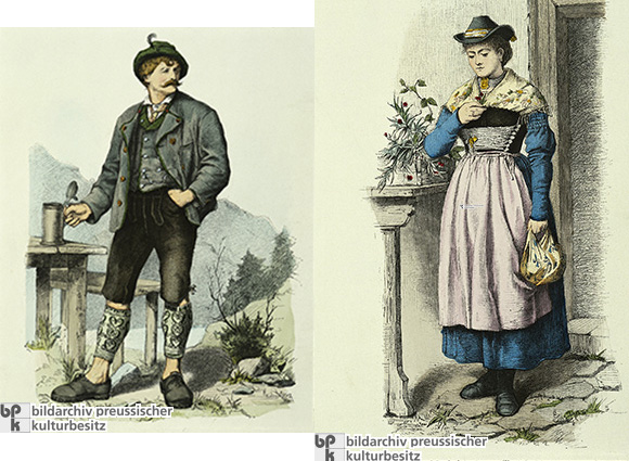 """Farmer and Girl from Tegernsee in Upper Bavaria"" (c. 1855)"