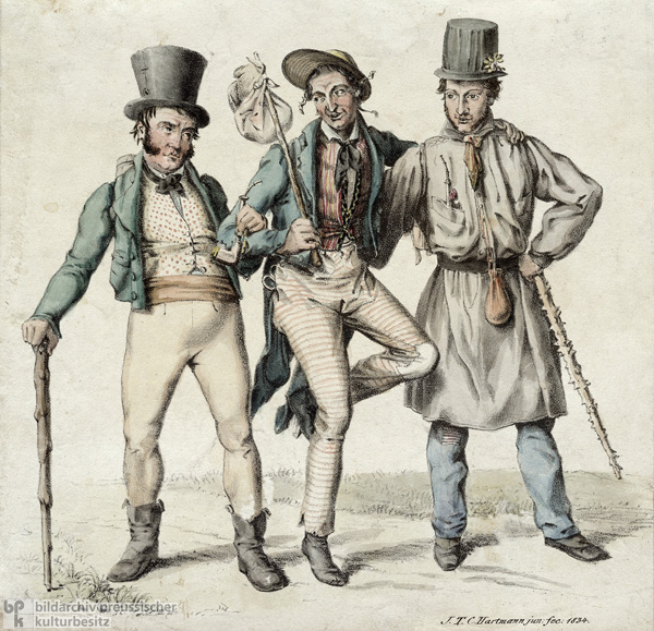 Johann Nepomuk Nestroy (left) in <i>The Evil Spirit of Lumpacivagabundus or: The Slovenly Threesome</i> from 1833 (1834)