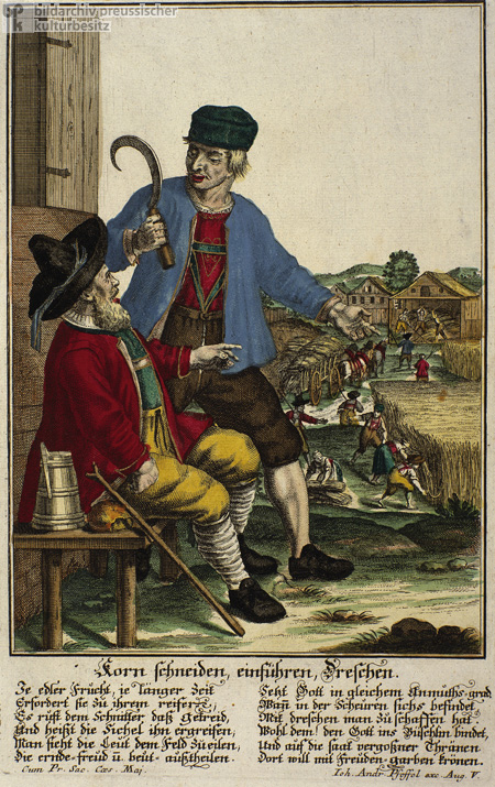 Reaping, Hauling, and Threshing Grain (c. 1740)