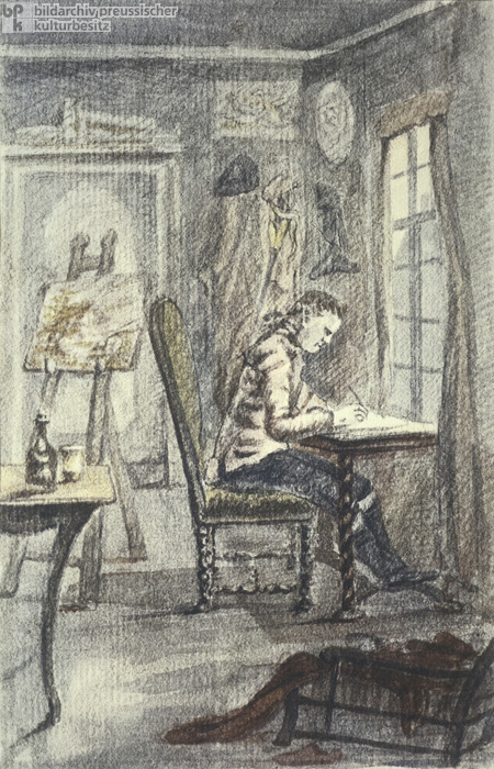 Goethe in His Frankfurt Study, Self-Portrait (1770-73)
