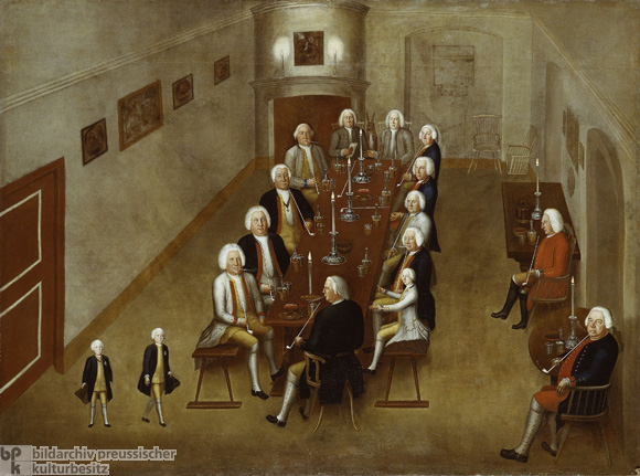 Prince Heinrich and Prince Ferdinand at a so-called Tobacco Parliament [<i>Tabakskollegium</i>] c. 1736 (c. 1738-39)