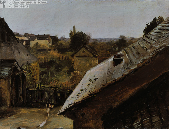 Carl Blechen, <I>View of Rooftops and Gardens</i> (1833)