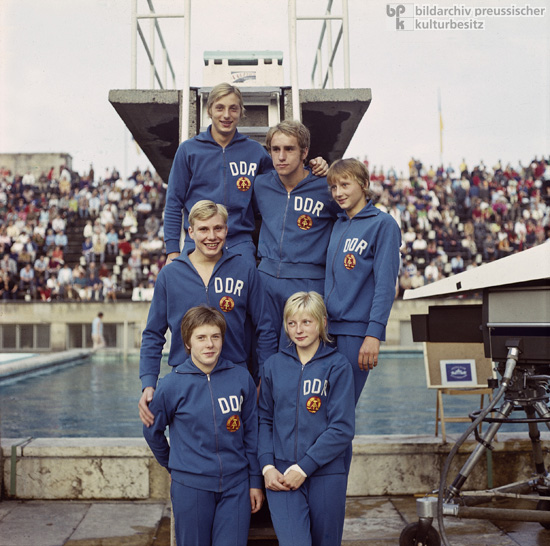Members of the GDR National Swim Team, which Competed against the U.S. Team in an International Meet in Leipzig (1971)