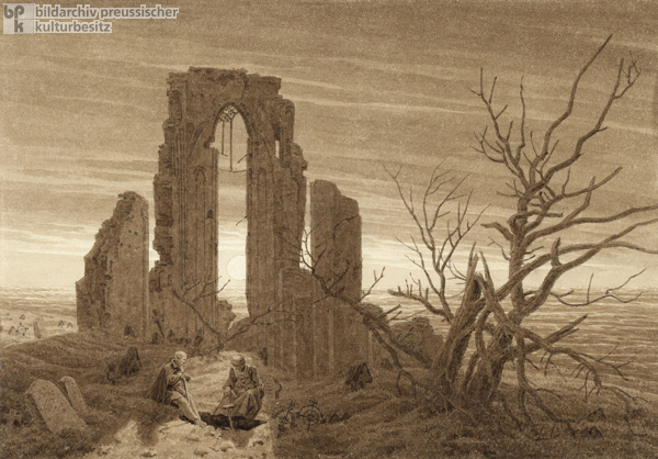 Caspar David Friedrich, <I>Winter – Cloister Ruins and Churchyard by the Sea</i> (c. 1826)