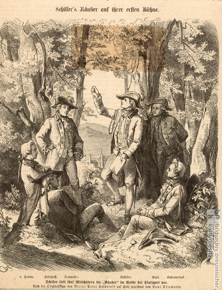 Friedrich Schiller Reciting <I>Die Räuber</I> in the Bopserwald (Undated Woodcut)