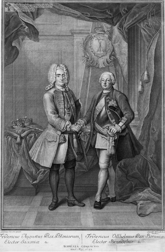 "August II (""the Strong"") of Poland with Frederick William I (""the Soldier King"") in 1728 (c. 1730)"