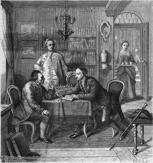 Gotthold Ephraim Lessing and Johann Caspar Lavater at Moses Mendelssohn's Home in 1763 (1856)