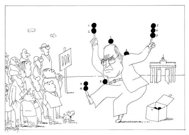 Caricature: Helmut Kohl's Ten-Point Plan, <i>Die Presse</i> (December 21, 1989)