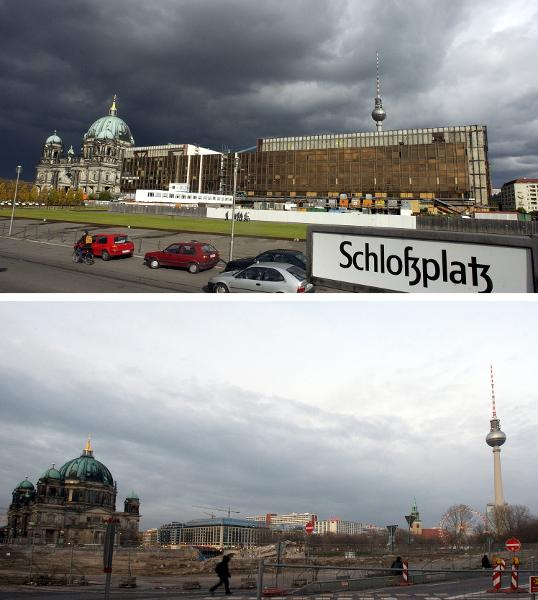 Palace Square [<I>Schlossplatz</i>] in Berlin before and after the Destruction of the Palace of the Republic (October 24 and December 2, 2008)