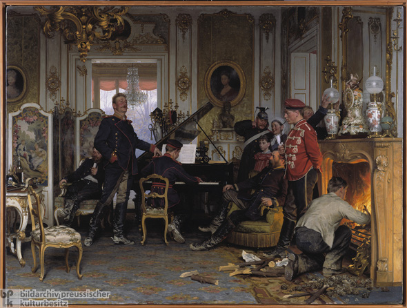 Anton von Werner, <i>A Billet outside Paris</i> [<i>Im Etappenquartier vor Paris</i>] (October 24, 1870/1894)