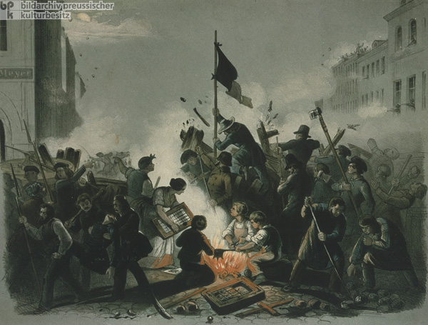 The Barricades at the Corner of Kronenstrasse and Friedrichstrasse (March 18-19, 1848)