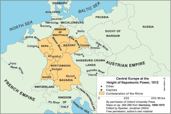 Central Europe at the Height of Napoleonic Power (1812)