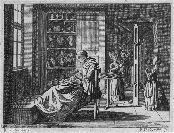 An Industrious Mother and her Daughters Spin Wool (1769-74)