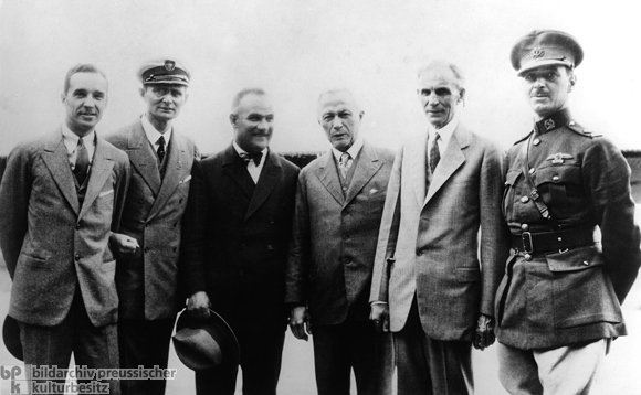 "Hugo Junkers and Henry Ford Greeting the Aviators of the ""Bremen"" (1928)"