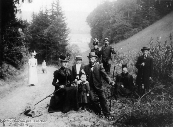 Bourgeois Family Hiking in the Harz Mountains (c. 1900)