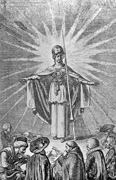 Enlightened Wisdom, in the Form of the Goddess Minerva, takes the Faithful of all Religions under her Protection (1791)