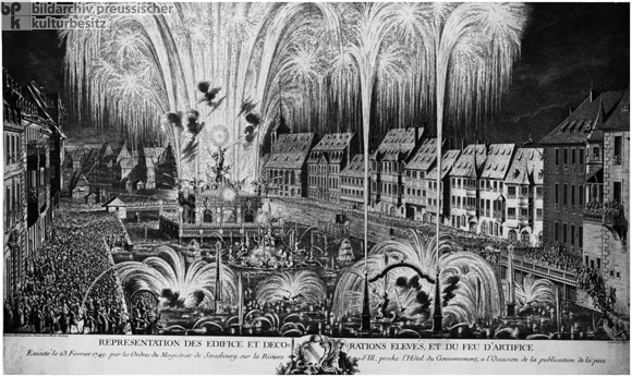 Fireworks in Strasbourg Celebrating the Declaration of Peace after the War of the Austrian Succession on February 23, 1749 (1749)