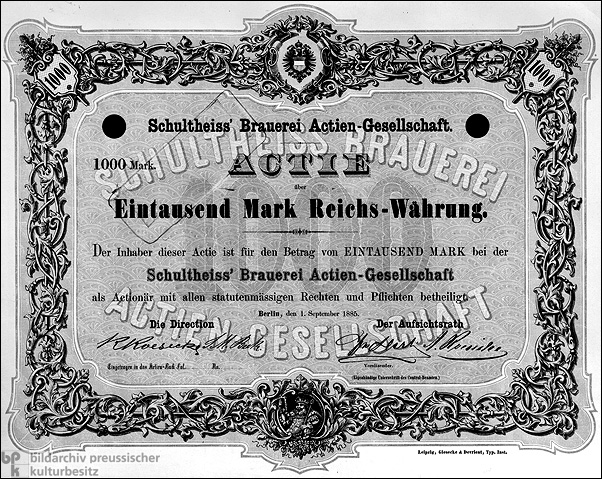 Thousand-Mark Stock Certificate (September 1, 1885)