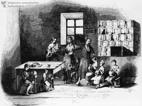 Child Labor in Germany: In Rittersgrün in the Ore Mountains, Children Produce Pillow Lace in the Cottage Industry (1847)