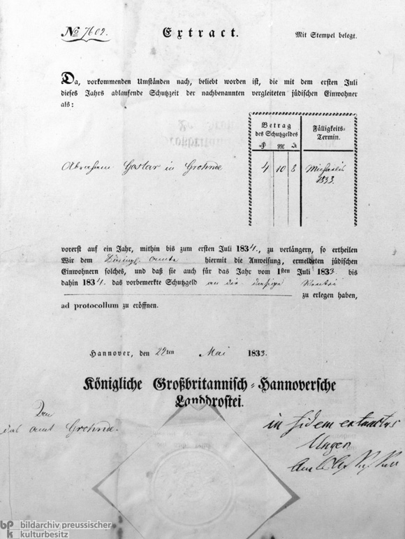 Certificate Requesting the Payment of Protection Money (1833)