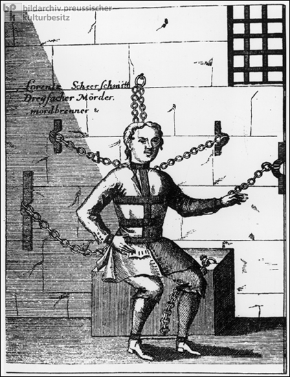 Three-time Murderer and Arsonist Lorentz Scheerschmidt in Neck, Hand, and Foot Irons (18th Century)