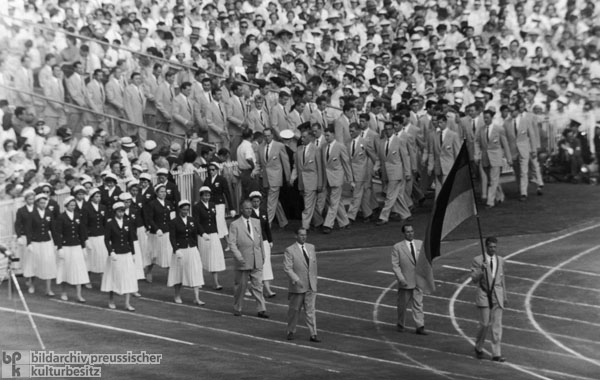 Entrance of the All-German Team during the Opening Ceremonies of the Olympic Games in Melbourne (November 22, 1956)