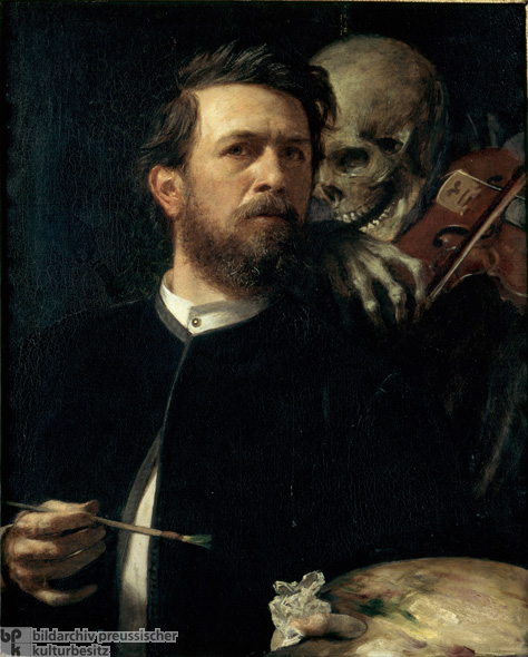 Arnold Böcklin, <i>Self-Portrait with Death playing the Fiddle</i> [<i>Selbstbildnis mit fiedelndem Tod</i>] (1872)