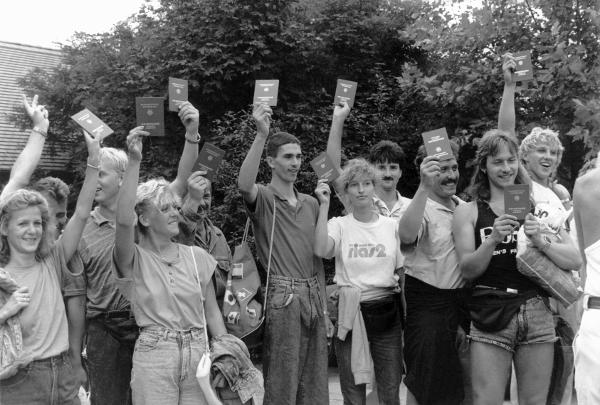 GDR Refugees with their New West German Passports (August 19, 1989)