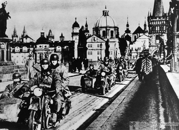 The Occupation of Prague: A Motorcycle Division on the Charles Bridge (March 15, 1939)