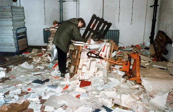 View of the Stormed Headquarters of the Office for National Security (formerly of the Ministry for State Security) in the East Berlin Neighborhood of Lichtenberg (January 15, 1990)