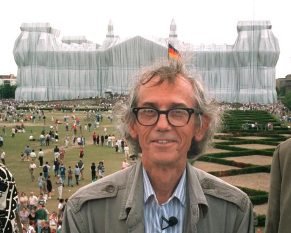 Artist Christo in Front of the Wrapped Reichstag (June 25, 1995)
