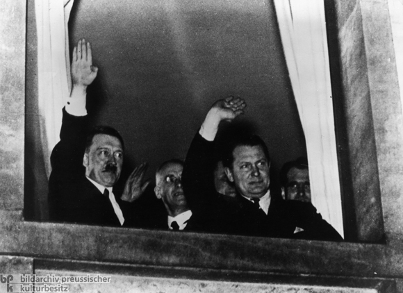 Adolf Hitler at a Window of the Reich Chancellery (January 30, 1933)