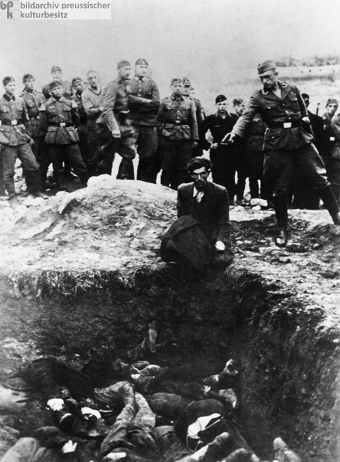 Ukrainian Jews are Shot by Members of a Mobile Killing Squad [<I>Einsatzgruppe</i>] (1941)