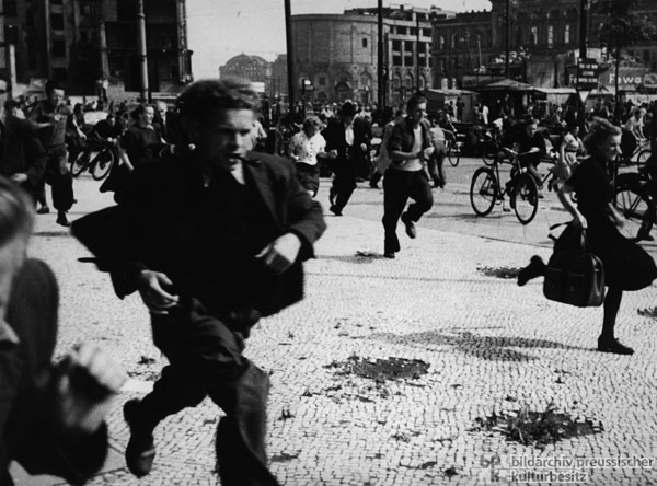 Fleeing to the British Sector under Fire from the Barracked People's Police (June 17, 1953)
