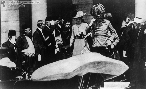 Franz Ferdinand of Austria and his Wife Sophie von Hohenburg Leave the Town Hall in Sarajevo and Get into their Car (June 28, 1914)