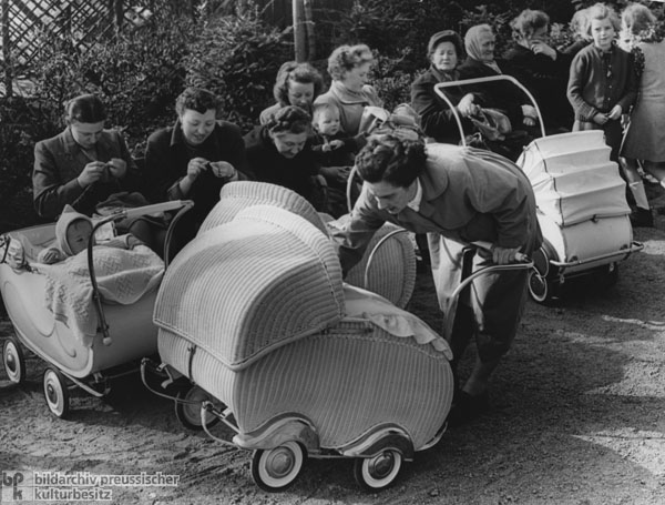 Baby Stroller Get-Together at a Playground in Frankfurt am Main (1954)