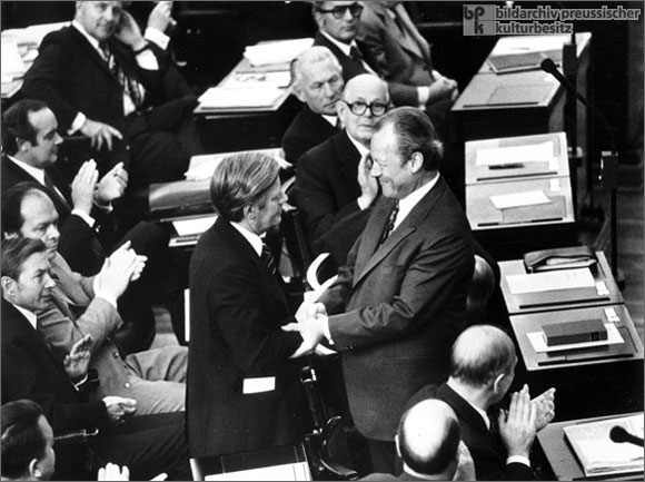 Willy Brandt with His Successor, Helmut Schmidt (May 16, 1974)