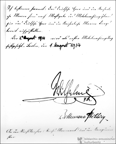 The Kaiser's Order for German Mobilization (August 1, 1914)